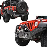 """GSI 07-17 Jeep Wrangler Rock Crawler Full Width Front Bumper with OE Fog Lights Hole and Winch Plate+Full Width Rear Bumper with Tire Carrier and 2""""Hitch Receiver-Textured Black Combo (Black)"""