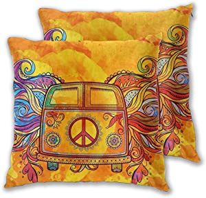 Ouqiuwa Hippie Vintage Car A Mini Van with Peace Sign Throw Pillow Covers Set of 2 16X16 Inch Square Decorative Pillowcase Cushion Cover for Bedroom Living Room Car
