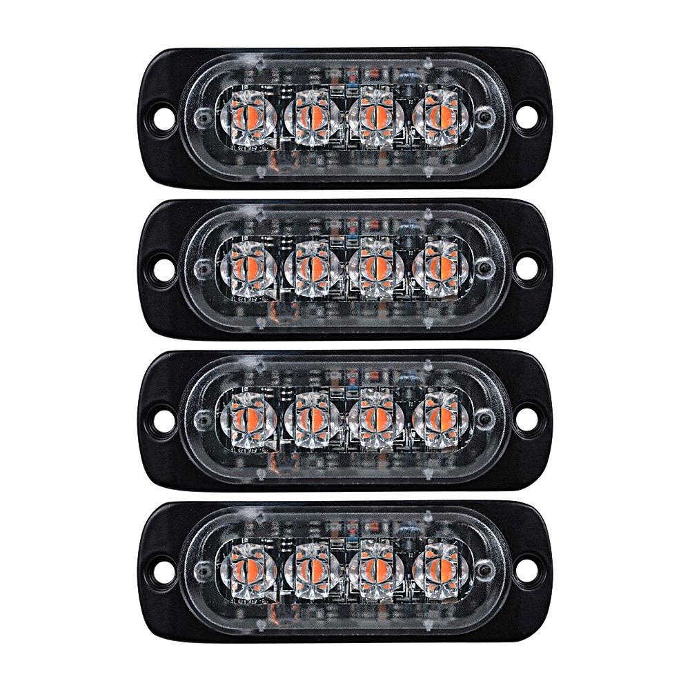 4x Amber Ultra Thin 4 Led Warning Emergency Flashing Star Light Bar Wiring Diagram Strobe Bars Surface Mount For Car Van Truck Jeep 4x4 Suv Atv Utv Automotive