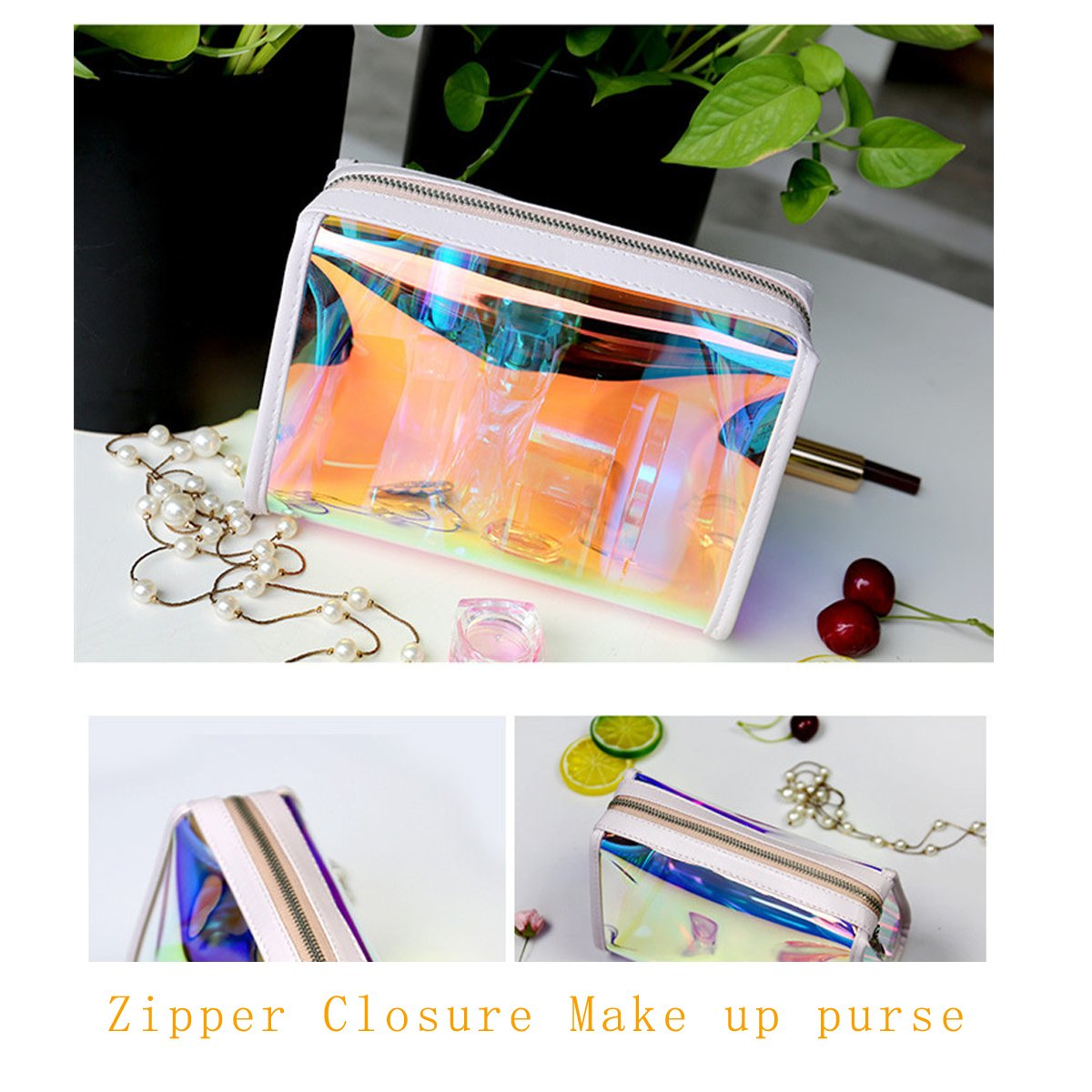 Andear Women's PVC Clear Hologram Transparent Clutch MakeUp Purse Bag for Girls by Andear (Image #5)