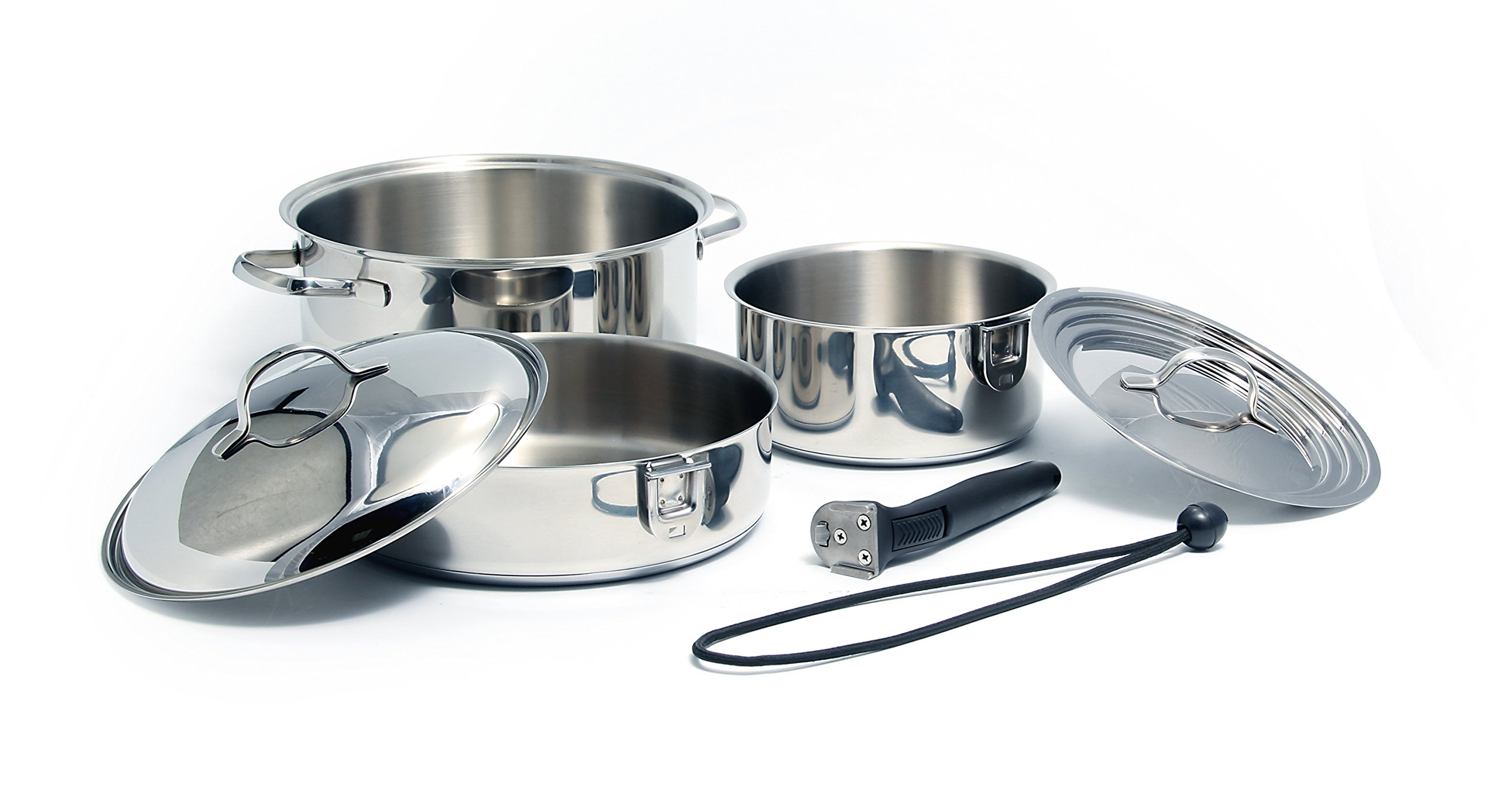 Camco 43920 Stainless Steel 7 Piece Nesting Cookware Set