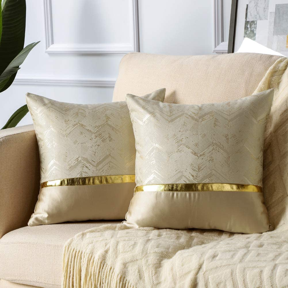 Soleebee Set of 2 Throw Pillow Covers Wavy Gold Wire Polyester Home Decorative Pillowcase Covers Couch Throw Pillow Case for Sofa Bed Car 18x18 Inch (Gold Silk Beige)