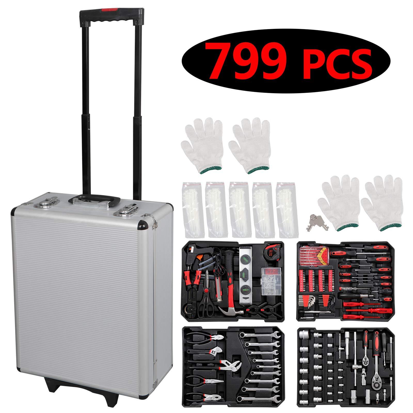 Smartxchoices 799 PCS Hand Tool Mechanics Kit Bundle Wrench Socket Toolbox with Aluminium Case Trolley Home DIY Repair Screwdrivers