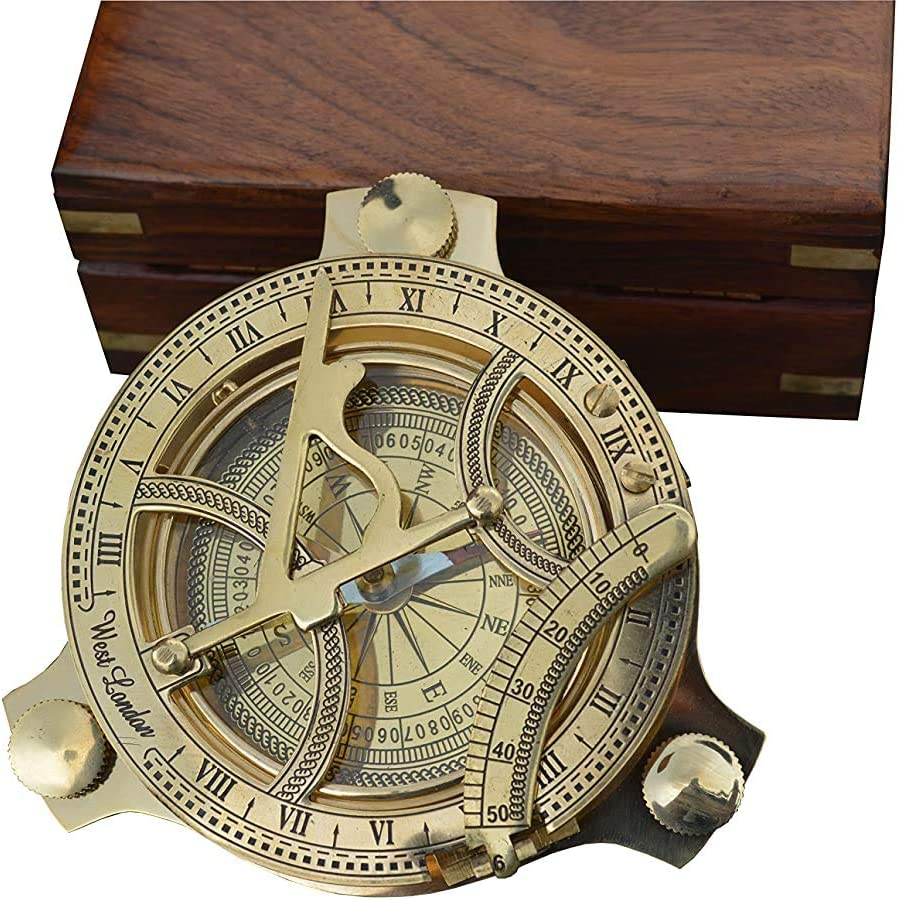 functioning brass nautical compass with sundial in elegant gift wooden box