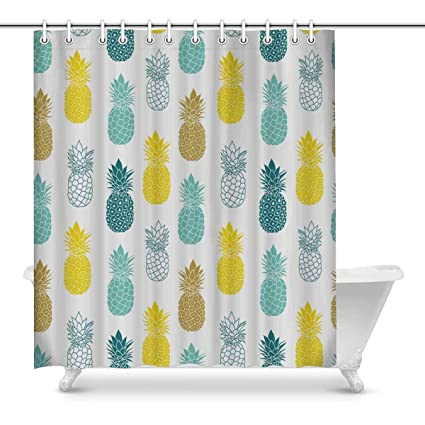 Fresh Blue Yellow Shower Curtain Set Pineapples In Grey And Colors Bath Waterproof Fabric