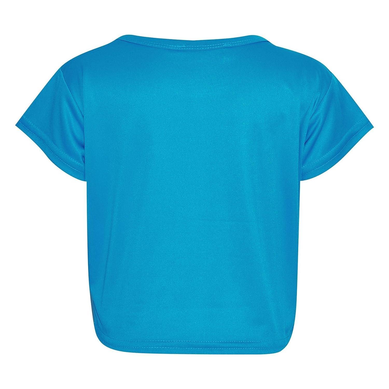 Mädchen Top Kinder Uni Farbe Stylisch Modisch Trendy T-Shirt Bauchfreies Top
