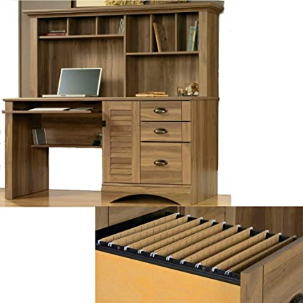 Amazon.com: Computer Desk with Hutch, Keyboard Tray, File ...