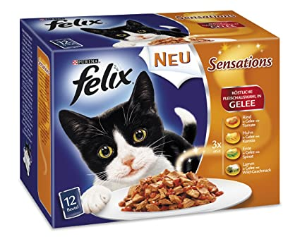 Felix Sensations Carne Mix 12 x 100g gato Forro de Purina