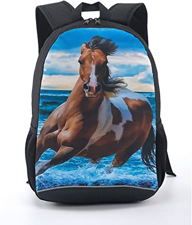 Horse LARGE Canvas Backpack Horses School or Travel Bag
