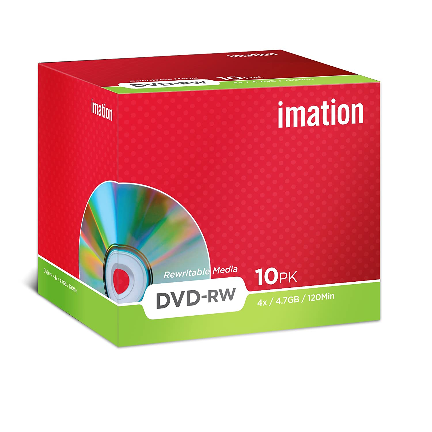 Imation Dvd-rw 4.7gb 1= Pack 10 Jewel Case * BOX OF 2 *