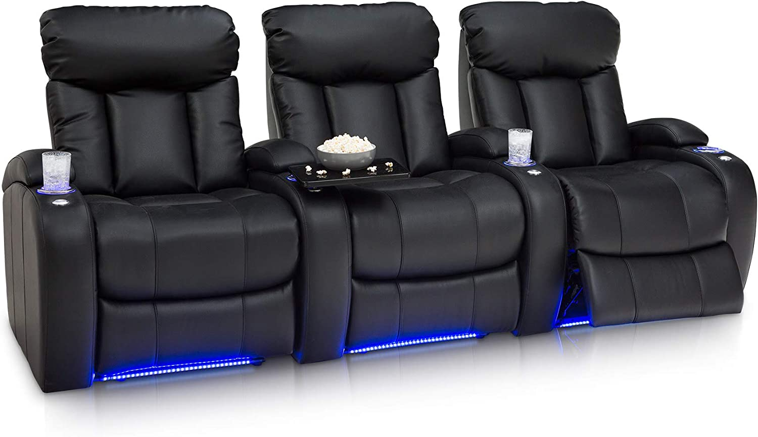 Seatcraft Orleans Home Theater Seating Manual Recline Leather Gel Row of 3, Black