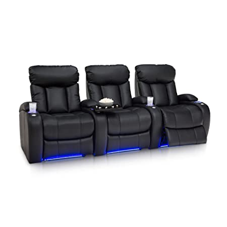Seatcraft Orleans Home Theater Seating Power Recline Leather Gel Row of 3, Black