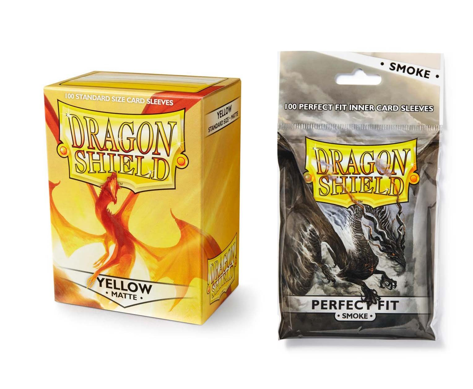 Dragon Shield Bundle: Matte Yellow 100 Count Standard Size Deck Protector Sleeves + 100 Count Smoke Perfect Fit Inner Card Sleeves