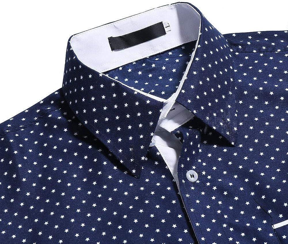 TOTAMALA Shirt Mens Formal wear Summer Autumn Winter Casual Polka Dot Slim Long Sleeve Shirt Top M//3XL