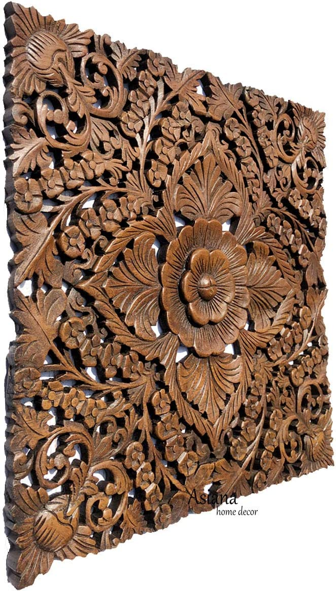 Rustic Wood Wall Decor. Large Tropical Carved Wood Plaque. Decorative Floral Wood Wall Panel.Oriental Home Decor. 24