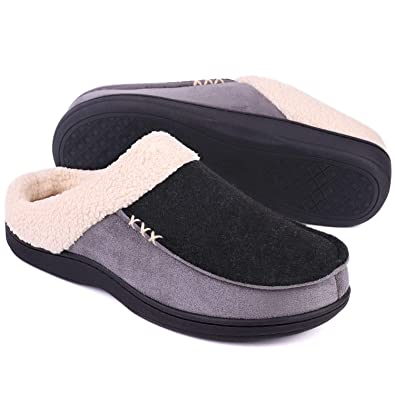 8d176e51ab8958 LongBay Men's Memory Foam Slippers Wool-Like Plush Fleece Lined Clog Slip  On Home Shoes