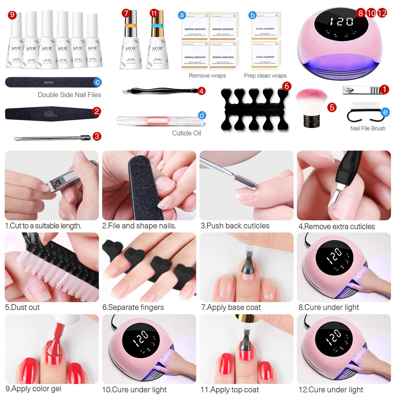 Gel Nail Polish Start Kit with 84W Nail Lamp, Gel Nail Polish Kit Nude Pink Glitter 6 Colors 10ML Gel Polish and No Wipe Top and Base Coat, Soak Off Gel Color Set Manicure Tools : Beauty
