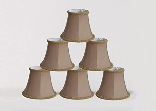 Urbanest Set of 6 Chandelier Mini Lamp Shade 5-inch, Bell, Clip On, Taupe