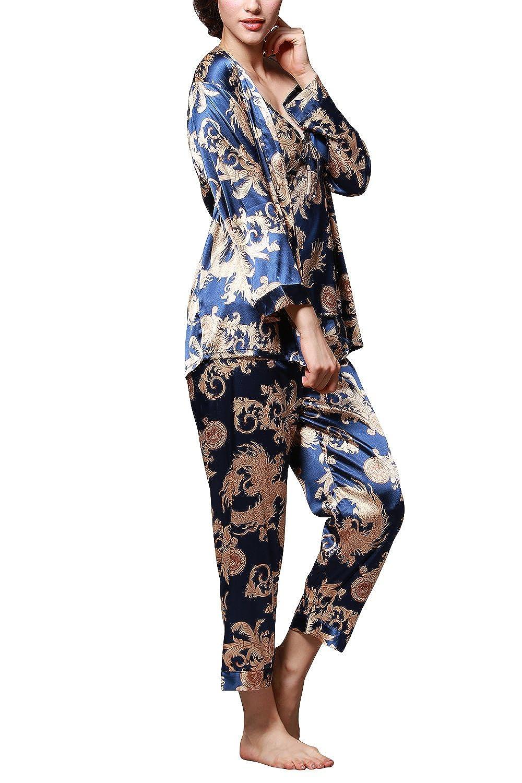 Dolamen Pijamas para mujer, Pijamas Mujer invierno, 3-in-1 Mujer camisones, Satén suave y cálido Manga larga y pantalones largos, Mujer largo Camisones raso ...
