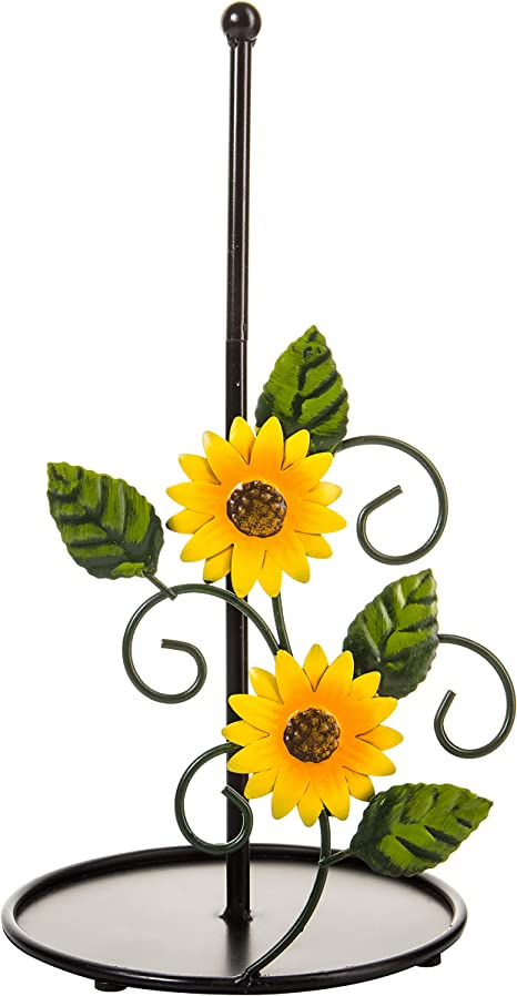 Amazon Com Sunflower Paper Towel Holder Kitchen Decor And Accessories For Decorations Farmhouse Stuff Black Metal Rustic Stand Countertop