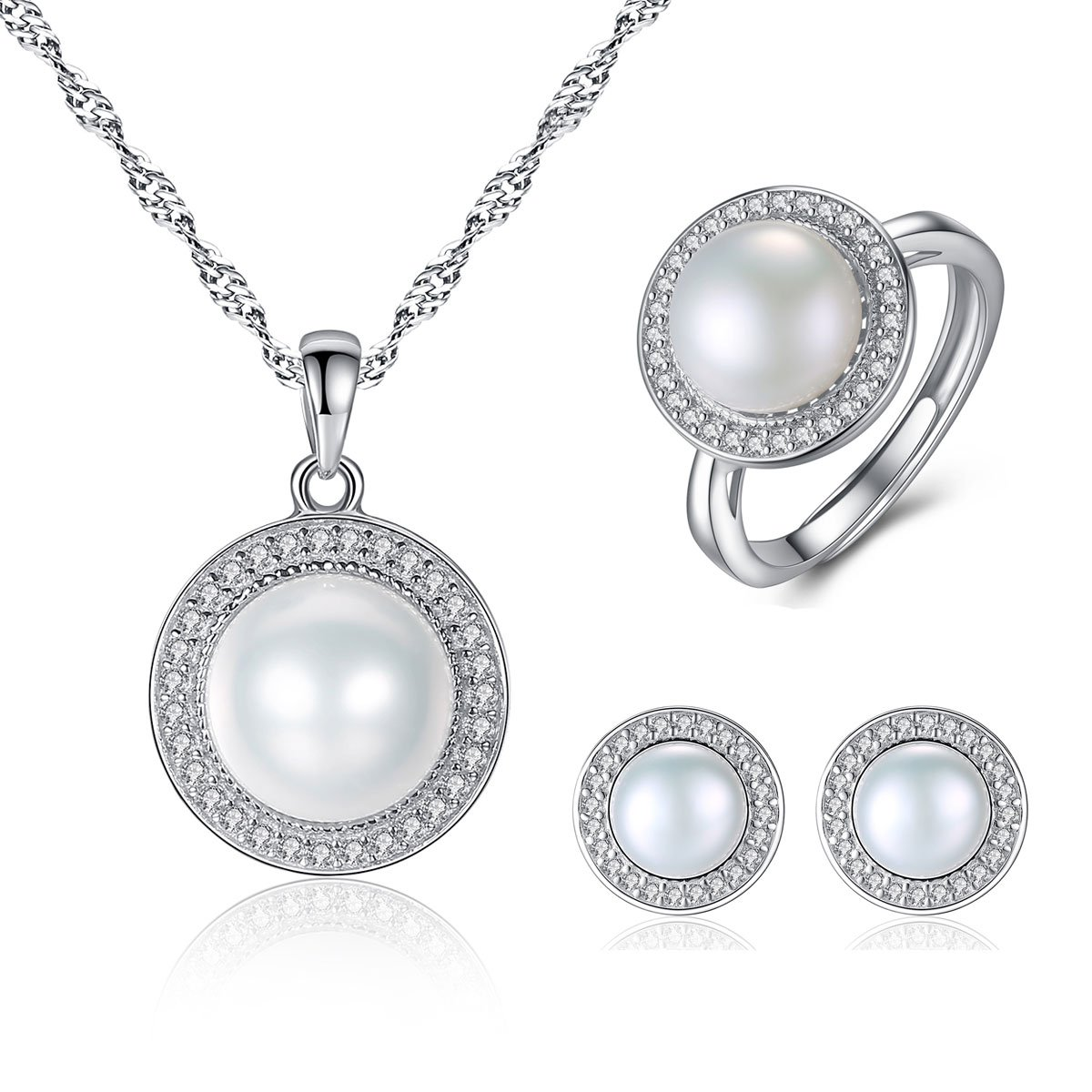 Mints Freshwater White Pearl Sterling Silver Necklace Pendant Stud Earrings and Adjustable Ring Cubic Zirconia Fine Jewelry Set for Women
