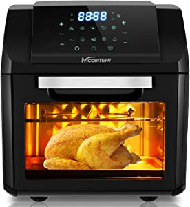 Nictemaw Air Fryer, Electric Hot Air Fryers Oven Oilless Cooker with LCD Digital Screen and Nonstick Frying Pot, 12LCapacity 1500W (Black)