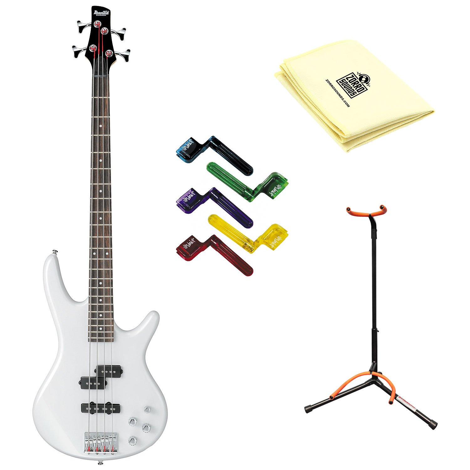 Ibanez GSR200PW Electric Bass Guitar with Pearl White Finish With Polishing Cloth, Stand, and Pegwinders