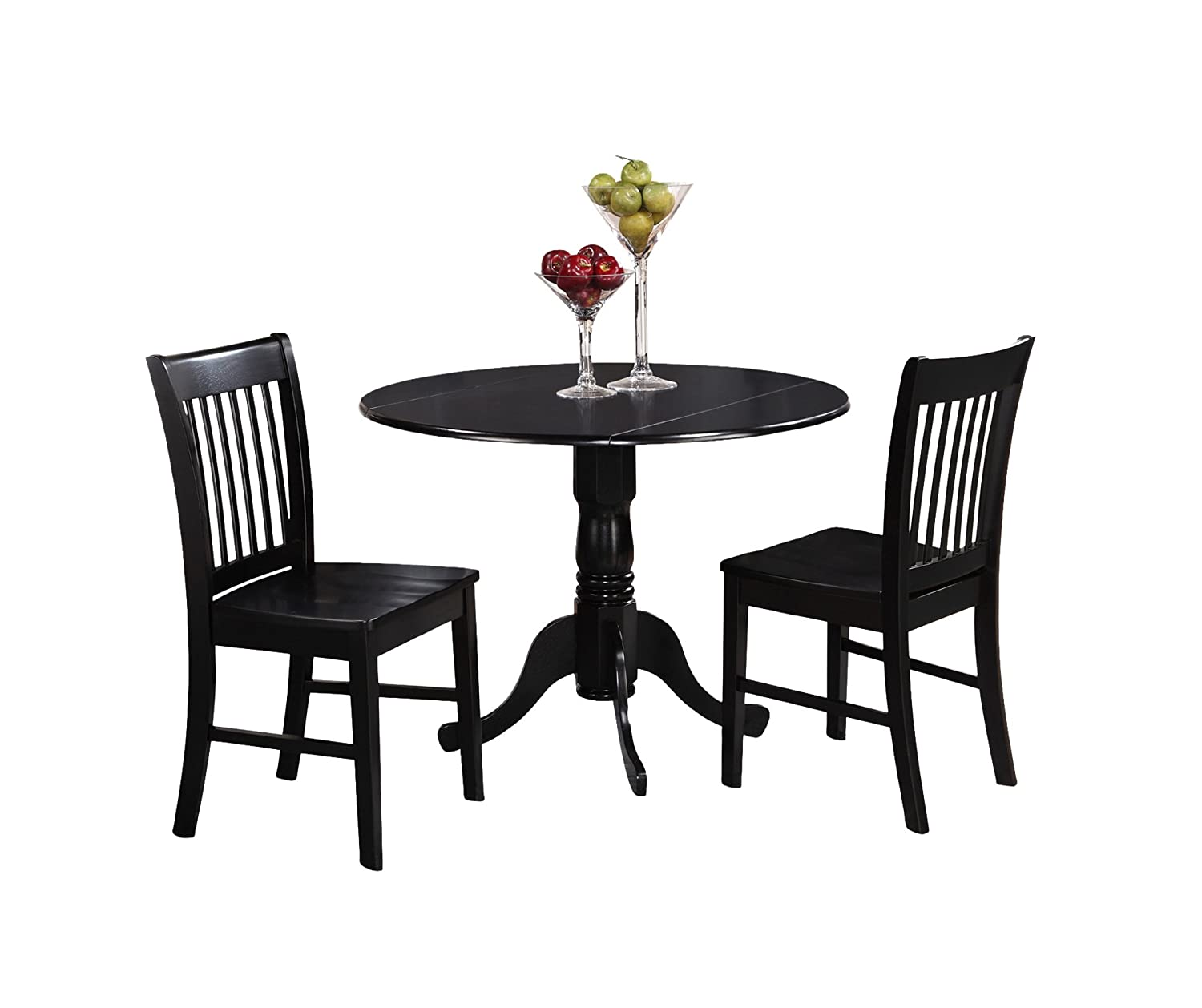 East West Furniture DLNO3-BLK-W 3-Piece Kitchen Table and Chairs Set, Black Finish
