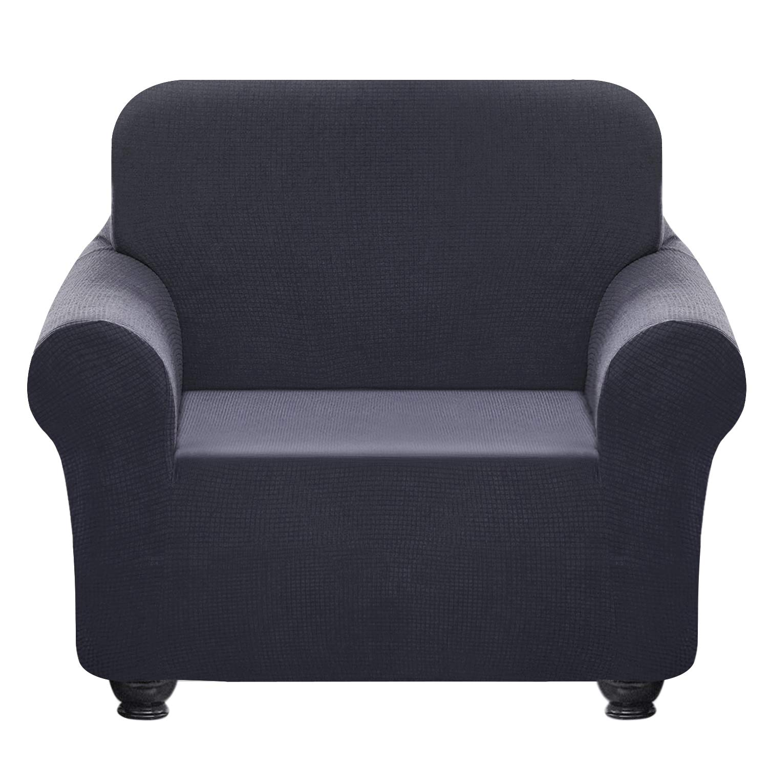 Chelzen Tech Chelzen Stretch Sofa Covers 1-Piece Polyester Spandex Fabric Living Room Couch Slipcovers Chair, Dark Gray