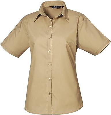 Premier - Camisa de trabajo lisa de popelina, de manga corta - Verde - 52: Amazon.es: Ropa y accesorios