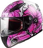 LS2 Casco de moto RAPID POPPIES Rosa, Blanco/Rosa, XS