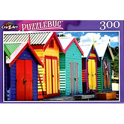 Bething Boxes in Brighton Beach, Melbourne, Victoria, Australia - 300 Pieces Jigsaw Puzzle: Toys & Games