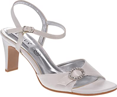 b95a329a418 Ladies Lexus Bridal Comfort  D  Wide Fit Sandal with Diamante Trim and  Adjustable Buckle in Ivory.  Amazon.co.uk  Shoes   Bags