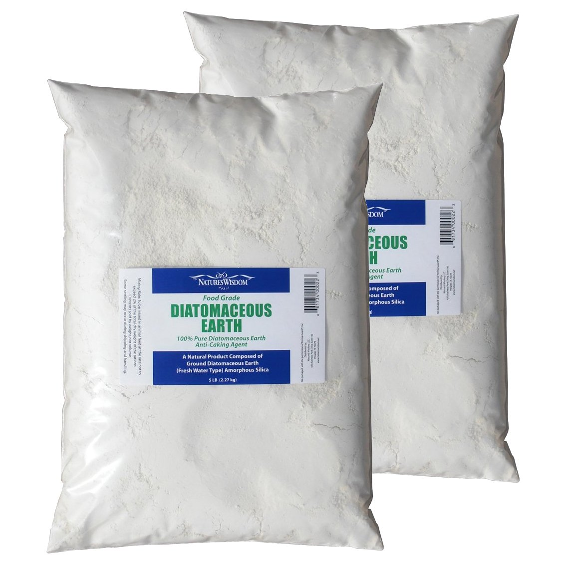 Food Grade Diatomaceous Earth 10 lb. by Natures Wisdom (Two 5 lb. bags in a box)