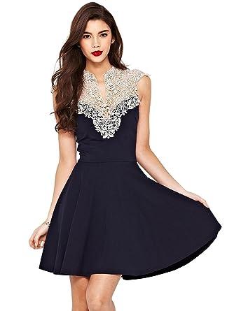 Damen ärmellos Kleid aushöhlen Spitze Oberseite kleid Festkleid ...
