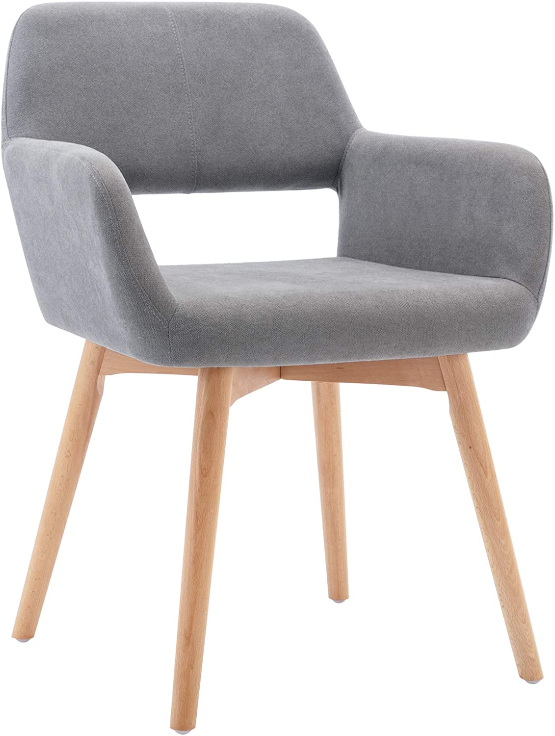 Lansen Furniture Modern Living Dining Room Accent Arm Chairs Club Guest with Solid Wood Legs (1, Light Grey)