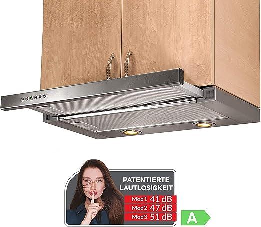 KÜGERR A100 - Campana extractora (60 cm, pantalla de cristal, circulación de aire o salida de aire, 5 niveles de potencia, iluminación LED, 592 m3/h, aspecto de acero inoxidable): Amazon.es: Grandes electrodomésticos