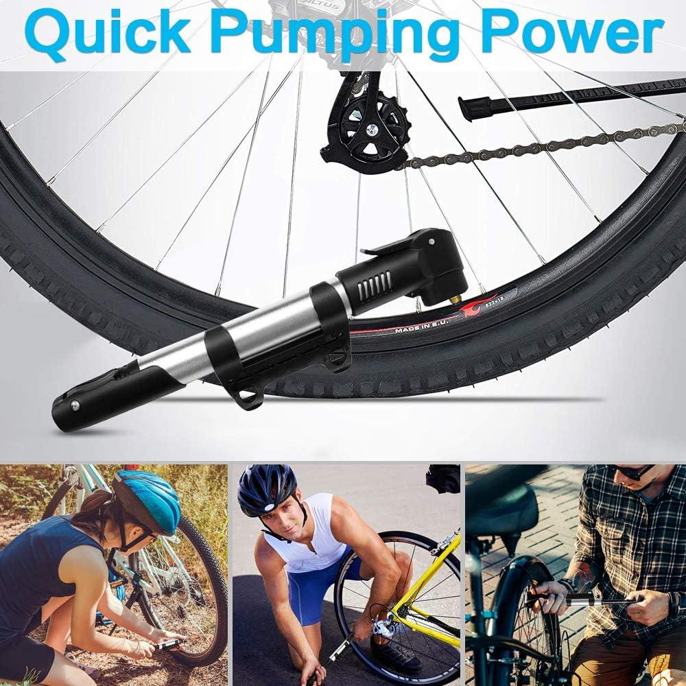 SANON Pompe per Bici Pompa per Bici Mini con Telaio Telaio Pompa di Aria Portatile Portatile Gonfiatore per Pneumatici per Mountain Bike MTB Bici da Strada E Moto Rosso