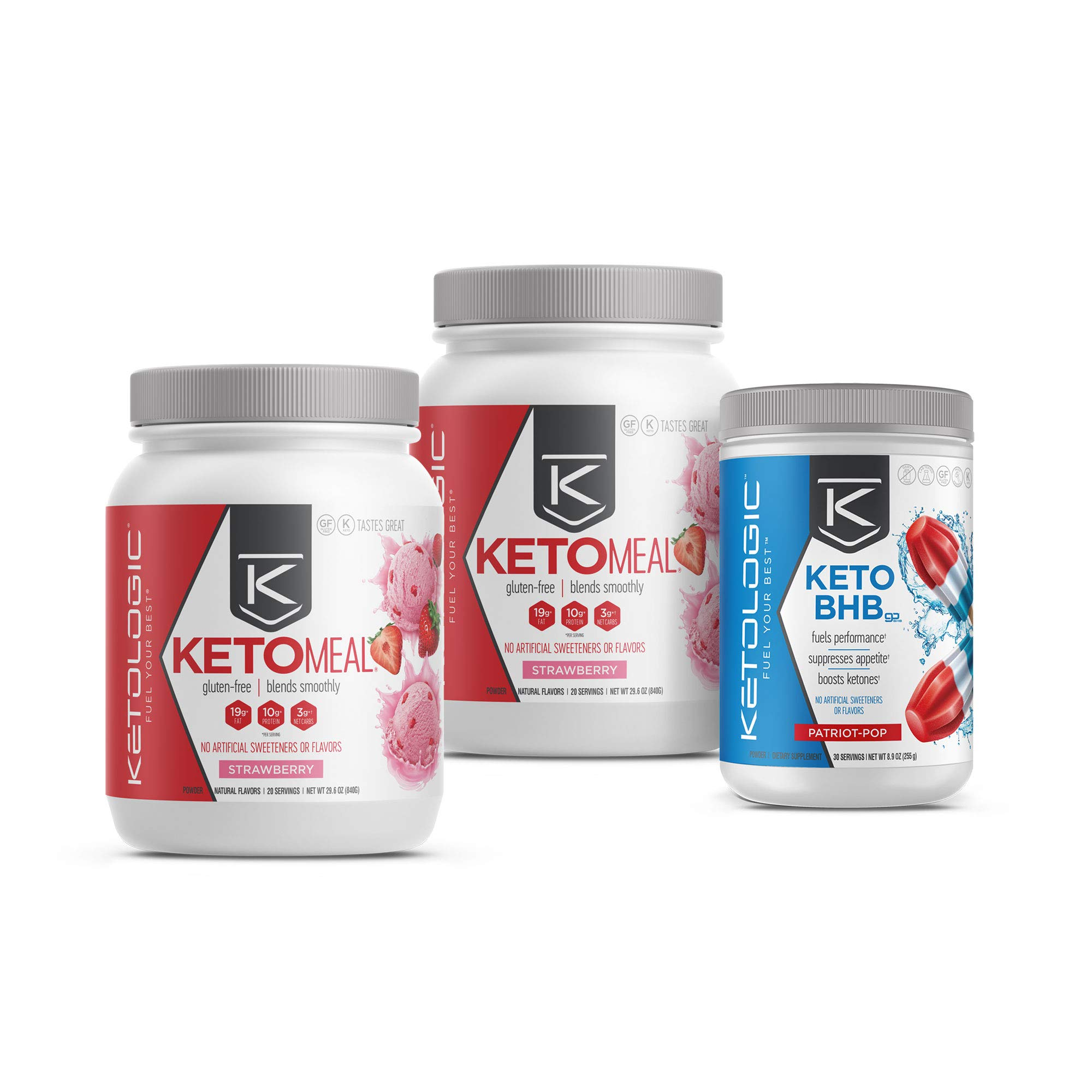 KetoLogic Keto 30 Challenge Bundle, 30-Day Supply   Includes 2 Meal Replacement Shakes with MCT [Strawberry] & 1 BHB Salt [Patriot Pop]   Suppresses Appetite, Promotes Weight Loss & Increases Energy by Ketologic