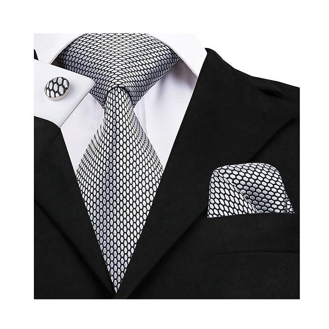 Conjunto corbata + pañuelo + gemelos cuadrados de tela de seda.