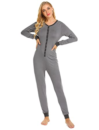 6161fa7d9 Amazon.com  Ekouaer Womens s Onesies Thermal Underwears One Piece ...