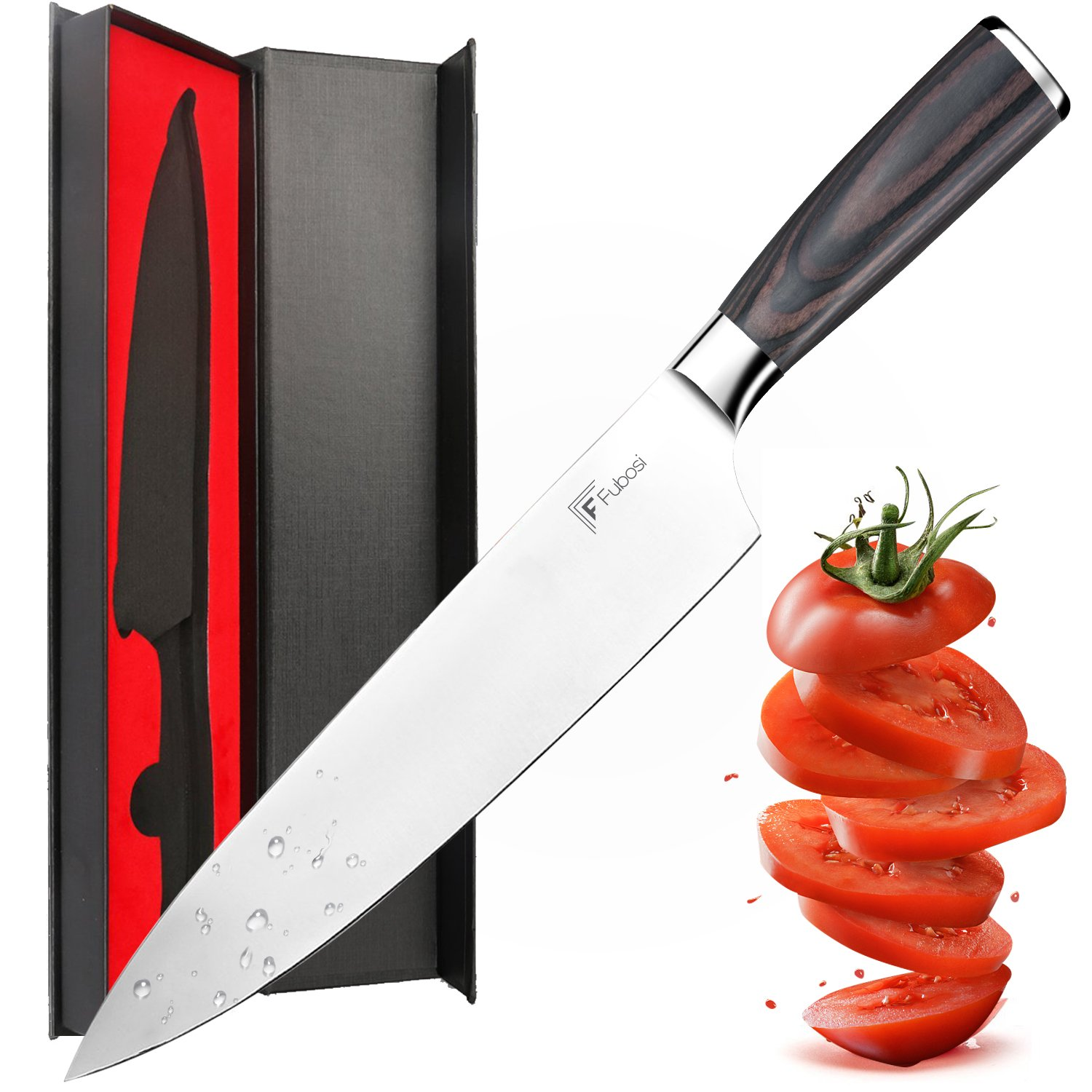 Chef Knife,Fubosi Chef's Knife 8 inches, Professional Kitchen Sharp Knives Fruit Vegetable Knife, High Carbon Japanese Stainless Steel Gyutou Knives With Ergonomic Handle by Fubosi
