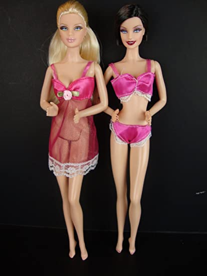 Underwear Bra Panty Set In Hot Pink With Nightie For Barbie Doll Amazon Ca Toys Games