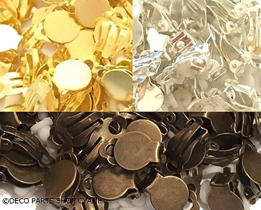 8188847bcec2 Amazon | 【アクセサリー金具】 イヤリング丸皿 保護パット付10個1セット ゴールド [並行輸入品] | アクセサリーパーツ 通販