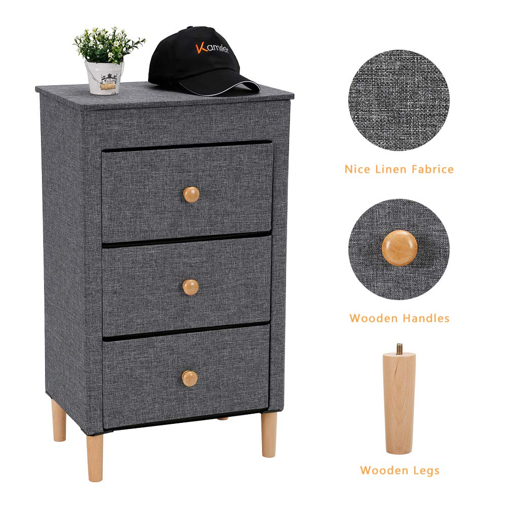 Amazon.com: Kamiler 3-Drawer Dresser, Nightstand, Beside ...