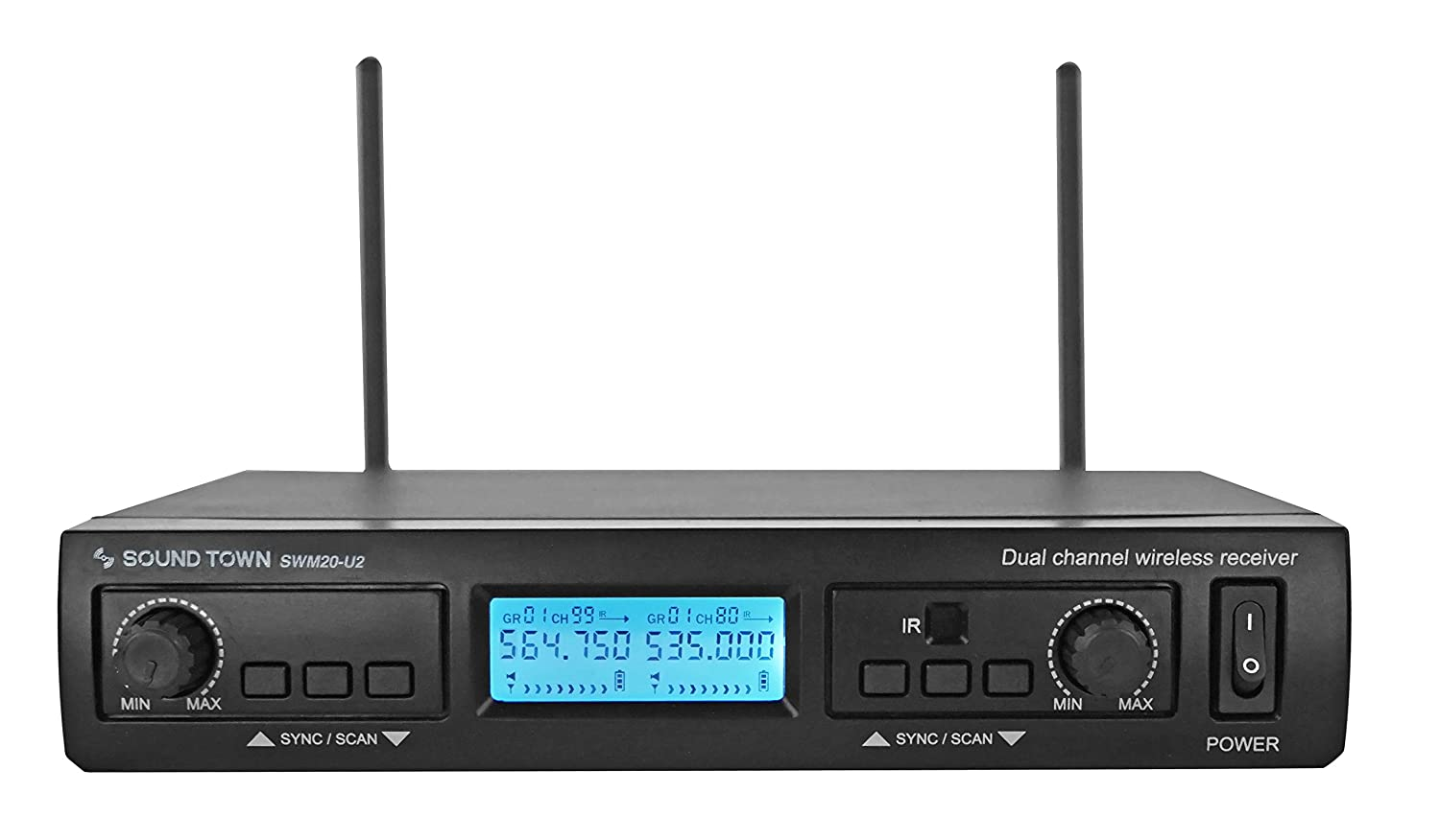 Sound Town 200-Channel Professional UHF Wireless Microphone System with 2 Handheld Mics, for Church, Business Meeting, Outdoor Wedding and Karaoke (SWM20-U2HH) 4332801098