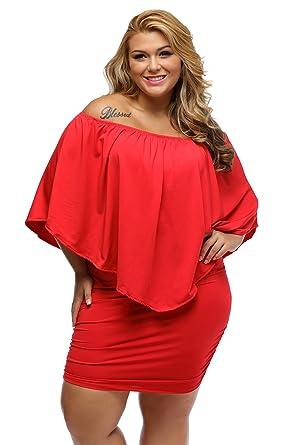 SunShine Plus Size Dress Multiple Dressing Layered Red Mini ...