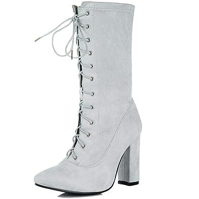 5d4dbf915d2 Spylovebuy DRAMATICA Women s Lace Up Block Heel Calf Boots  Amazon ...