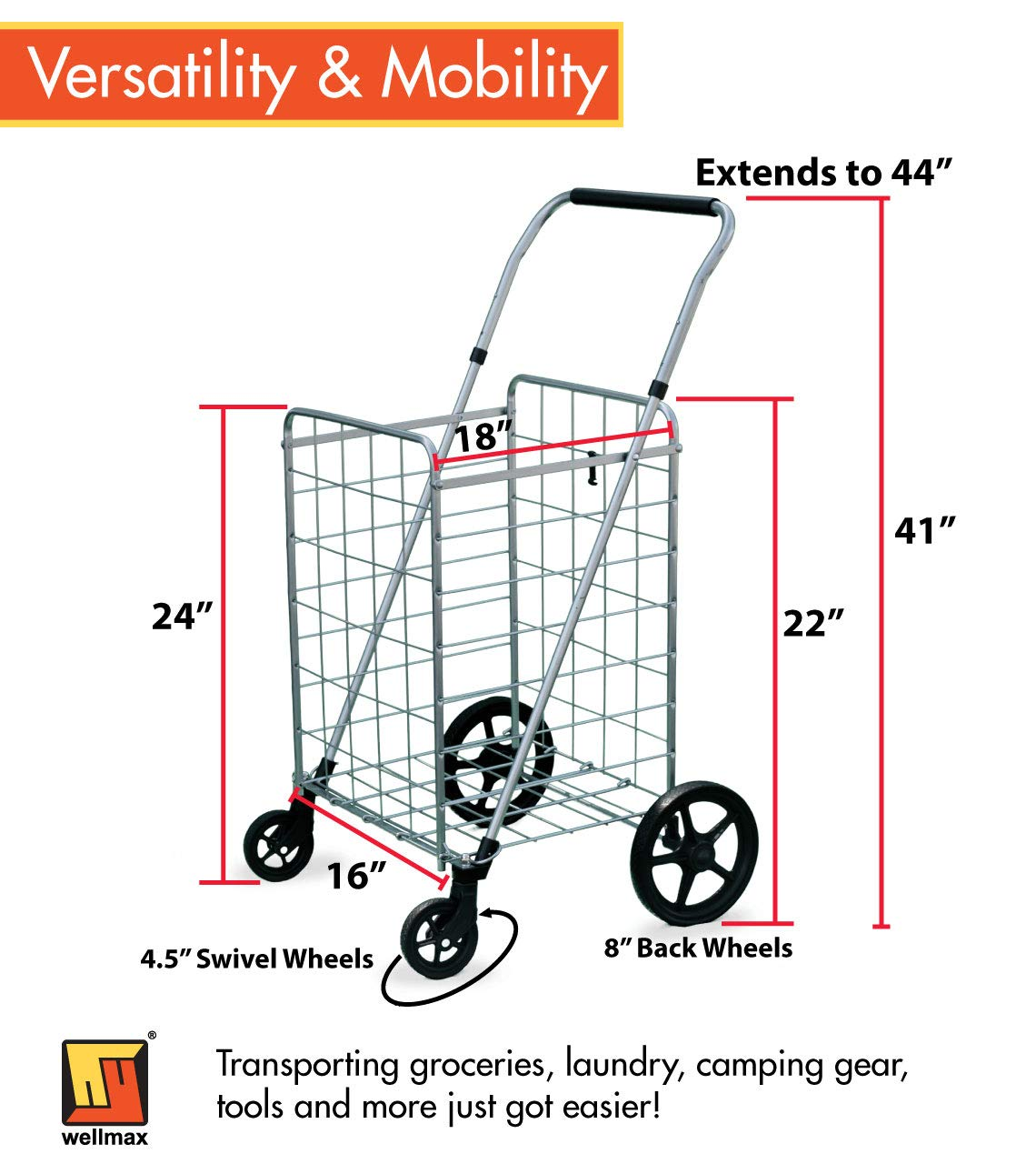 Wellmax Grocery Shopping Cart with Swivel Wheels – Foldable & Collapsible Utility Cart with Adjustable Height Handle – Space Saving Heavy Duty Light Weight Trolley by Wellmax (Image #3)