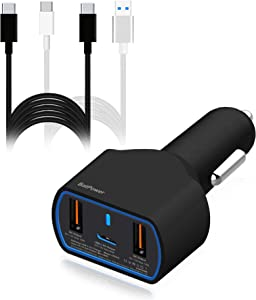 BatPower 120W USB C Laptop Car Charger, PD 90W Car Charger for New Surface Book 2 Laptop Pro 7 USB C Car Charger HP Spectre X360 Razer Microsoft Dell Laptop Car Charger Vehicle DC 12v-24v Auto Adapter